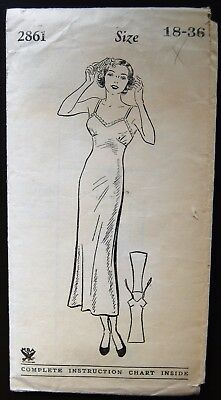 Vintage Original Mail Order 30's Full Slip Pattern No. 2861