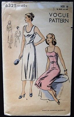 Vintage Original Vogue 50's Full Slip Pattern No. 6325