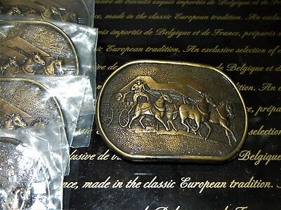 ADVERTISING GULF OIL BELT BUCKLE lot of FIVE (5) HORSE AND CHUCK WAGONS STAMPEED