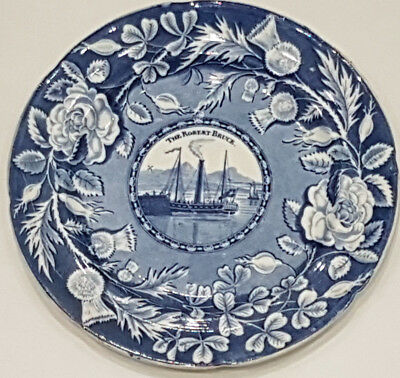 VeryRare Scottish Pottery Pearlware Blue Transfer Plate Caledonian Pottery C1820