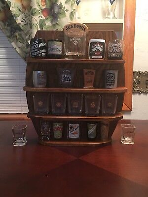 Jack Daniels shot glass collection and display stand