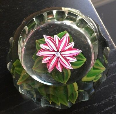 PERTHSHIRE P cane faceted MILLEFIORI & LAMPWORK FLOWER glass PAPERWEIGHT