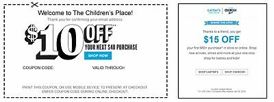 Children's Place $10 OFF $40 & Carter's $15 OFF $50**C0UPONS DLVD W/IN 1 HOUR**