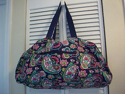 Vera Bradley Nylon Light Weight Duffel Tote Bag Collapsible Petal Paisely EUC