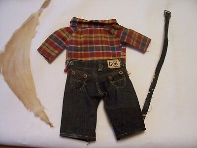 Vintage Buddy Lee Doll Cowboy Outfit, Jeans, Shirt,  Scarf