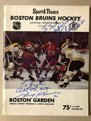 Boston Bruins vs. Montreal Canadians program autographed by Gerry Cheevers