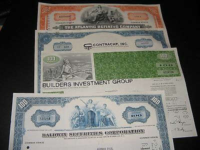 4 OLD STOCK CERTIFICATES & 8 free baseball cards