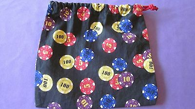 """Poker Party Bag(s) for Poker Chips Cotton fabric w poker chips drawstring 6""""x6"""""""