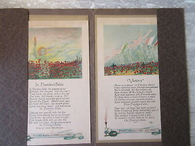 2 Old Canada WW1 Illustrated Poems Flanders Fields Victory Lewis E Smith