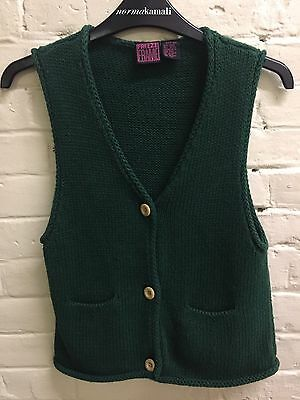 Vtg 7-10 Girl Forest Green Cotton Woven Vest Faux Wood Buttons Sweater Cardigan
