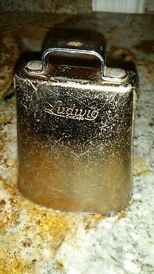Vintage Ludwig Cowbell Gold....Sounds Nice!  Ludwig Script Chicago