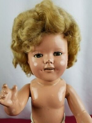 Vintage Shirley Temple Composition 1930's with Beautifully Clear Eyes 16 inches