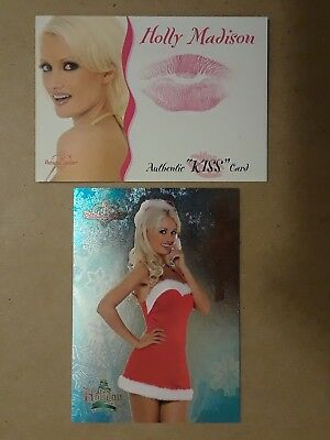 Holly Madison 2003 Benchwarmer Kiss+2005 Holiday 2 card lot