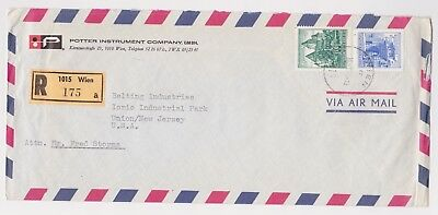 Austria 1970 Commercial Registered Airmail Cover to Union, NJ