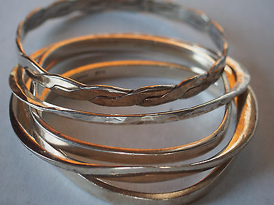 5 Vtg Sterling Silver Braided Hinged Hammered Carinated Bangle Bracelet Lot 86g