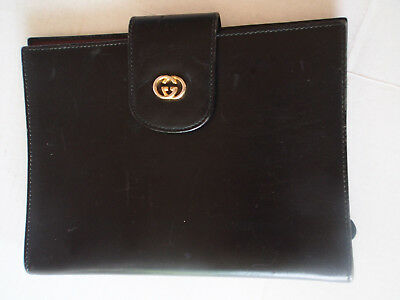 Authentic Vintage Gucci GG Logo Black Leather Planner Agenda Cover Note Organize