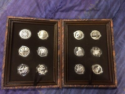 The Franklin Mint Good Luck Medal Collection.  *** RARE SILVER SET *** 8 Troy Oz