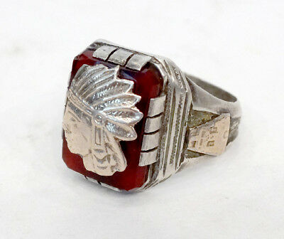 STERLING SILVER & 14k GOLD Vintage AZTEC INDIAN CHIEF Mexican Taxco BIKER RING