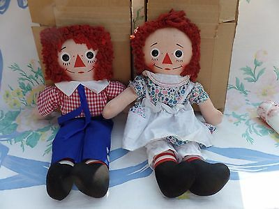 "Vintage Knickerbocker Raggedy Ann & Andy 15"" set with original shipping box"