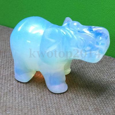 Natural Moonstone Opal White Hand Carved Elephant Figurine Decor Gift 4x2.7cm