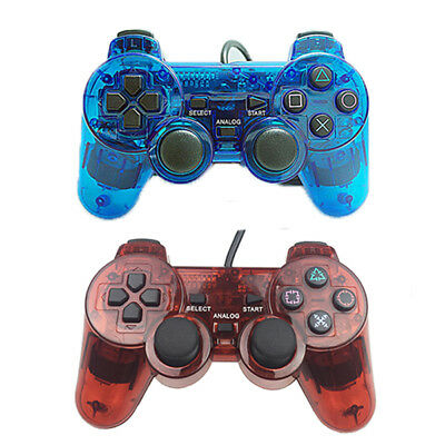 Twin Wired Shock Blue Game Controller Joypad Pad for Sony PS2 Playstation 2