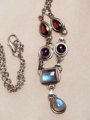 "Nicky Butler Sterling Silver Vintage 925 Moonstone Necklace 18""  573086 NEW"