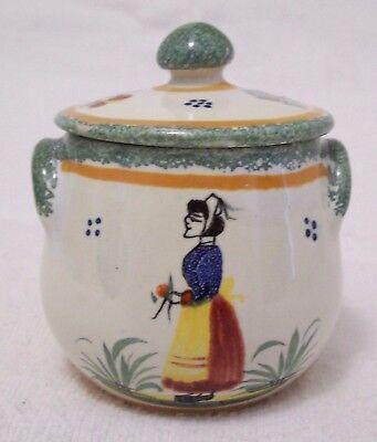 Vntg Henriot Quimper Pottery France Sugar Cache Pot With Lid Hard To Find 1922+