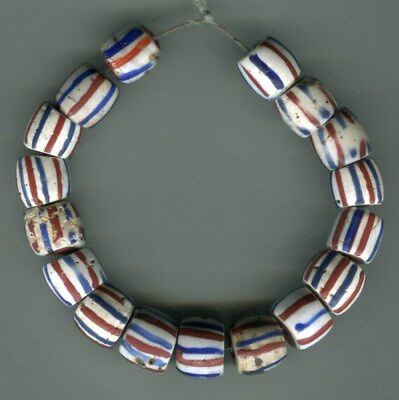 African Trade beads Vintage Venetian glass 17 striped brown core white beads