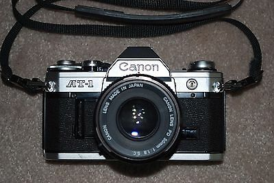 Canon AT-1 SLR Camera With Canon FD 50mm f1.8 S.C. Lens Immaculate #418431 USED