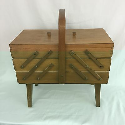 Vintage Accordion Fold Out 3 Tier Wood Dove Tailed Sewing Craft Box Light Stain