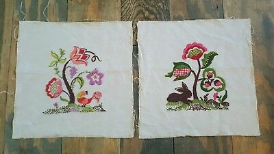 2 12.5x13 Large Vintage embroidered quilt squares block flowers rabbit WOODLAND