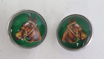 Matched Pair Horse Bridle Rosettes / Buttons Solid Glass Dome Dark Green