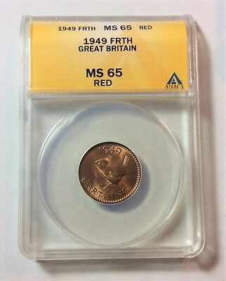 1949 Great Britain 1/4 Penny ANACS MS65 Red Farthing