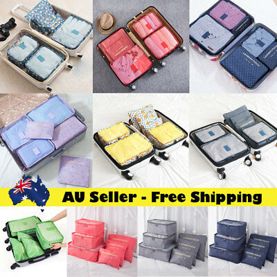 6Pcs Packing Cubes Travel Luggages Organiser Clothes Suitcase Storage Pouch Bags