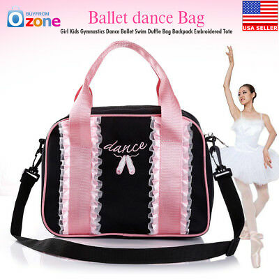 Girl Kids Gymnastics Dance Ballet Swim Duffle Bag Backpack Embroidered Tote
