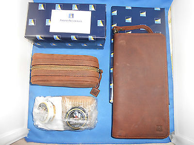 Ansett Australia Matching Oroton Leather Travel Wallet & Shoe Shine Kit