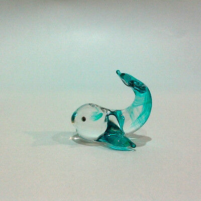 Tiny Whale Hand Painted Blue Blown Glass Art Figure Home Decor/sea Collection