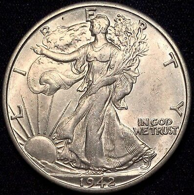 1942-D 50C Walking Liberty Half Dollar AU++/BU MS