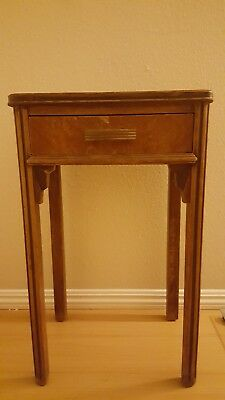 Antique 4 Leg One Drawer Night Stand Bedside Lamp Table