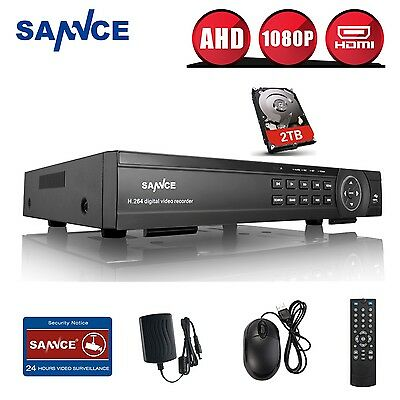 SANNCE 2TB HDD 16CH 1080P AHD Video HDMI CCTV Security DVR APP Remote Access