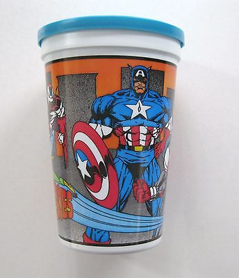 HTF 1994 Marvel Comics REAL HEROES PIZZA HUT Promo Cup CAPTAIN AMERICA DAREDEVIL