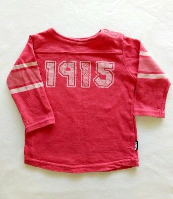 Bonds Baby Girls Long sleeve T-shirt size 00 Pullover Sweater Red Elbow Stripes