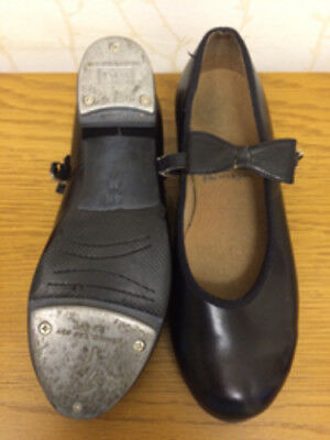 Bloch Merry Jane Buckle Bow Black Tap Shoes Heel & Toe Taps UK Size 1.5