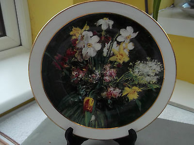 Kings China Decorative Plate With A Dark Background And A Spring Flowers Pattern