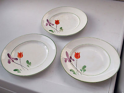 Three Art Deco Style Side Plates With Purpleiris And Orange Tulip No Makers Name