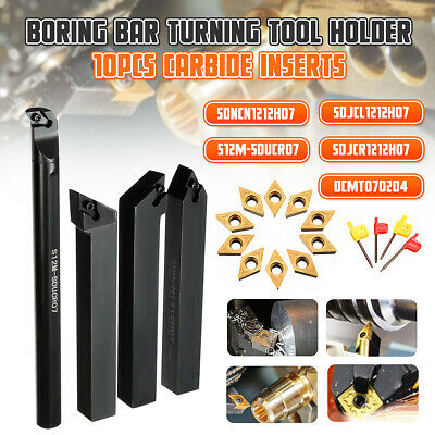 4Pcs 12mm Lathe Boring Bar Turning Tool Holder + 10x Carbide Insert + Wrench Set
