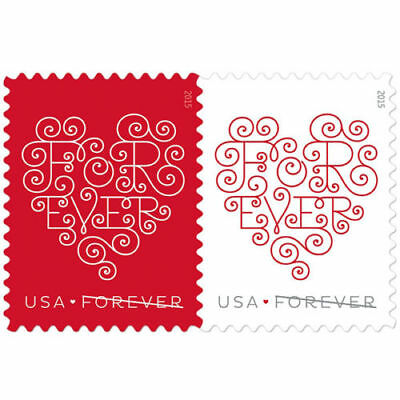 USPS Forever Stamps Hearts Edition Sheets of 20 X 50; Total 1000 Stamps