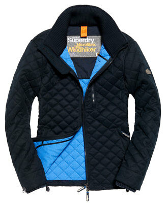New Mens Superdry Microfibre Quilted Windhiker Jacket Eclipse Navy