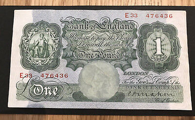 1928 BANK OF ENGLAND Mahon £1 ONE POUND NOTE (Green)