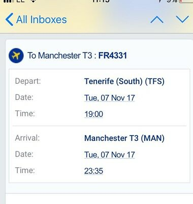 1 adult Flight from Tenerife south to Manchester 7/11/17
